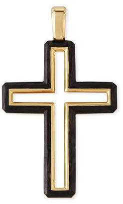 David Yurman Men's 37mm Forged Carbon Cross Pendant with 18k Gold Trim