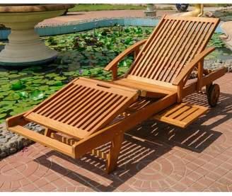 Beachcrest Home Joaquin Balau Reclining Outdoor Chaise Lounge