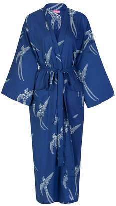 Susannah Cotton Cotton Kimono Robe Women's: 100% Light Organic Hand-Printed Yukata Bathrobe