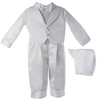 lauren-madison Christening Baptism Newborn Baby Boy Special Occasion Satin Long Pants With Striped Shawl Collar Vest
