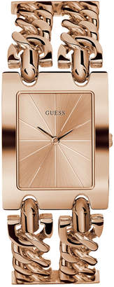 GUESS Women's Rose Gold-Tone Stainless Steel Double Chain Bracelet Watch 28mm
