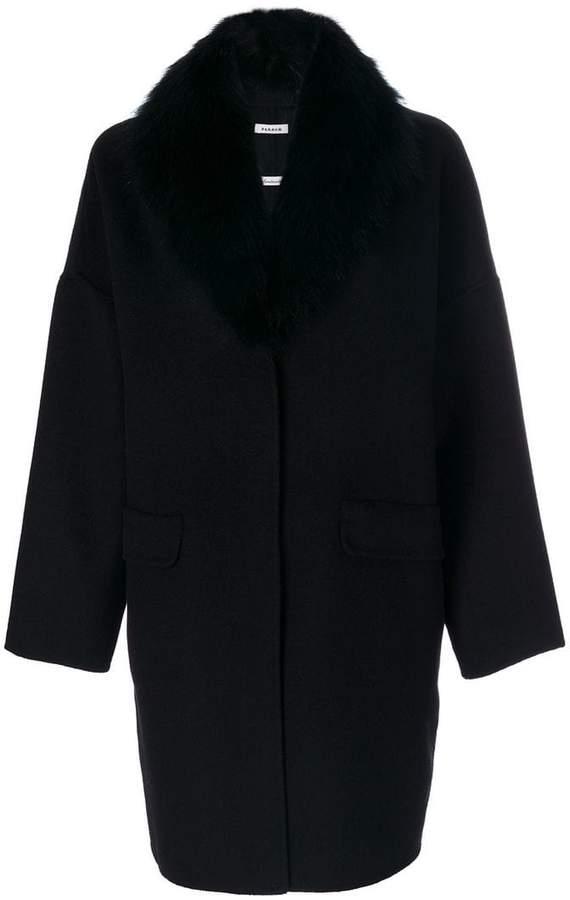 Oversized-Mantel mit Fuchspelzkragen