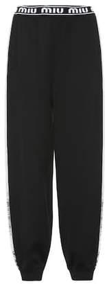 Miu Miu Sequined cotton-blend trackpants