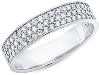 Crislu Women's 925 Sterling Silver Round Small Clear Pave Cubic Zirconia Ring - Size N