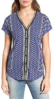 Women's Lucky Brand Button Front Ikat Print Top $49.50 thestylecure.com