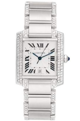 Cartier Tank W51002Q3 Stainless Steel with Custom Diamonds Unisex Watch