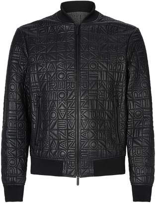 Emporio Armani Leather Embossed Letter Bomber Jacket