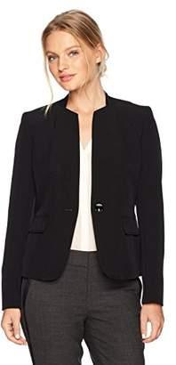Kasper Women's Petite Stretch Crepe 1 Button Collarless Jacket