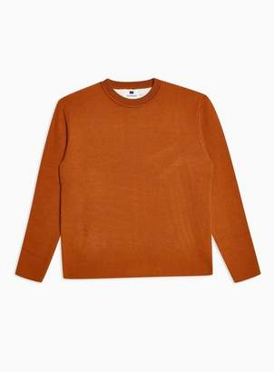 Topman Mens Brown Tobacco Double Face Sweater