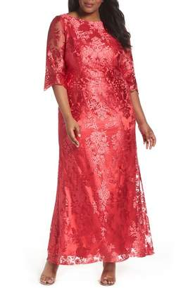 BRIANNA Embroidered Bateau Neck Gown