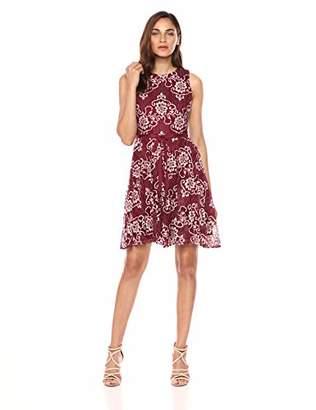 Gabby Skye Women's Belted Floral Lace Dress