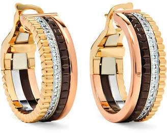 Boucheron Quatre Classique 18-karat Yellow, Rose And White Gold Diamond Hoop Earrings