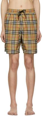 Burberry Yellow Vintage Check Swim Shorts