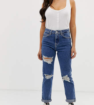 New Look Petite multi rip mom jeans in blue