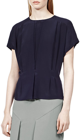 Reiss Penny TUCK FRONT BUTTON BACK TOP