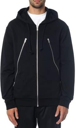 Maison Margiela Black Hooded Sweatshirt In Cotton