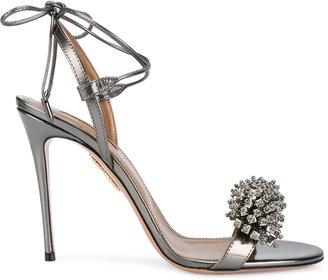 Aquazzura Pewter Monaco sandals $895 thestylecure.com