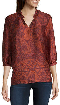 Liz Claiborne Womens V Neck 3/4 Sleeve Woven Blouse