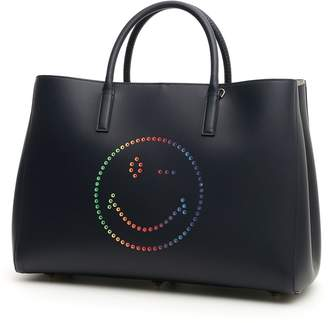 Anya Hindmarch Large Ebury Shopper With Multicolor Smiley