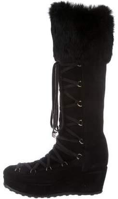 Stuart Weitzman Troll Fur-Trimmed Boots