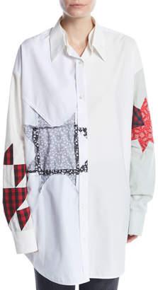 Calvin Klein Long-Sleeve Button-Front Patchwork Tunic Shirt