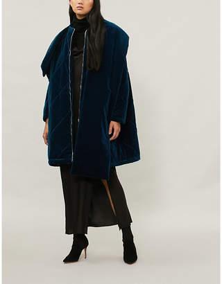 Osman Oversized quilted velvet padded coat