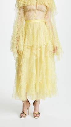 Rodarte Lace Skirt with Vertical Ruffles
