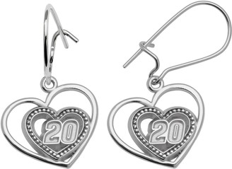 "Insignia Collection NASCAR Matt Kenseth Sterling Silver ""20"" Heart Drop Earrings"