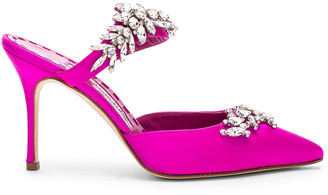 Manolo Blahnik Satin Lurum 90 Heels in Bright Pink | FWRD
