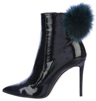 Jimmy Choo Tesler Fox Fur-Trimmed Ankle Boots