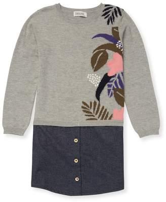 Jean Bourget Mixed Media Sweater Dress