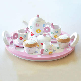 Jammtoys wooden toys Flower Pink Role Play Wooden Tea Set