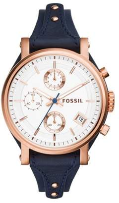 Fossil Original Boyfriend Chronograph Navy Leather Watch