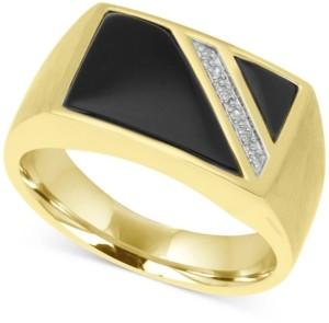 Macy's Men's Onyx & Diamond Accent Ring in 10k Gold