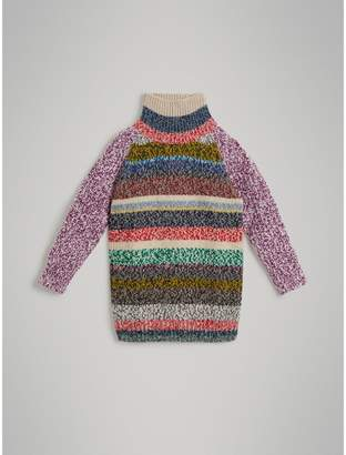 Burberry Striped Cashmere and Wool Oversized Sweater , Size: 8Y, Pink