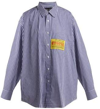 Martine Rose Patch Applique Checked Cotton Shirt - Womens - Blue White