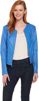 Halston H By H by Lamb Leather Jacket with Perforated Panels