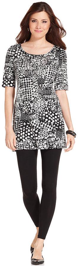 Style&Co. Top, Short-Sleeve Multi-Print Tunic