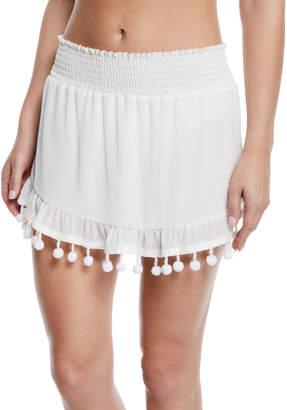 Ramy Brook Stevie Mini Skirt with Pom-Pom Trim