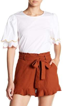 June & Hudson Tiered Scallop Sleeve Blouse