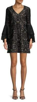 Xscape Evenings Petite Tiered Bell Sleeve Mini Dress