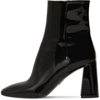 Prada 85MM PATENT LEATHER ANKLE BOOTS