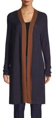 Eileen Fisher Contrast-Trimmed Open Cardigan