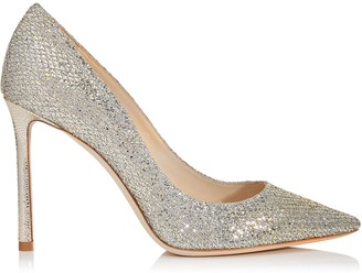 Jimmy Choo ROMY 100 Champagne Glitter Fabric Pointy Toe Pumps