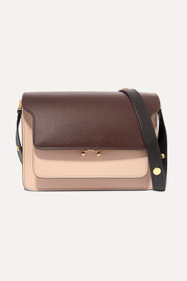 Marni Trunk Medium Color-block Textured-leather Shoulder Bag - Dark brown