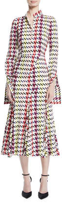 Oscar de la Renta Long-Sleeve Houndstooth-Print A-Line Midi Dress