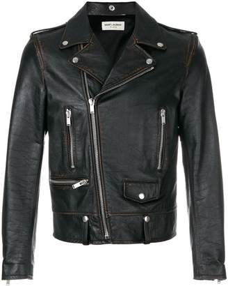 Saint Laurent short zipped biker jacket