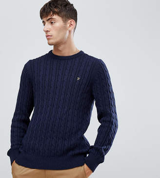 Farah Ludwig cable crew neck sweater in navy