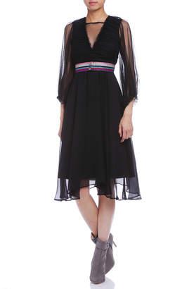 Paola Frani (パオラ フラーニ) - PAOLA FRANI シルクシースルー切替 ギャザー 配色ベルト付 ドレス ブラック 40
