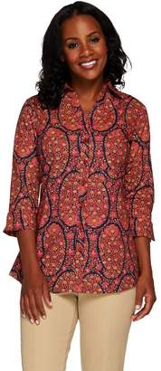 Liz Claiborne New York Paisley Printed Button Front Tunic
